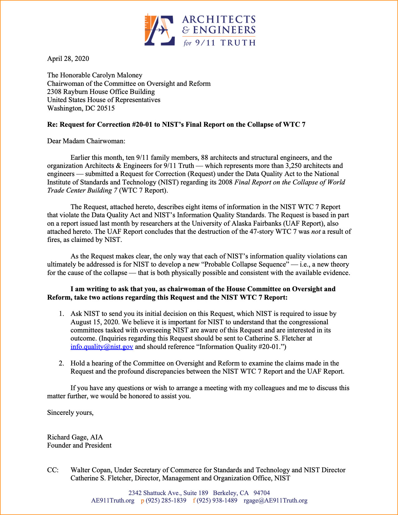 Letter to House Oversight Committee Chair Apr 2020 800