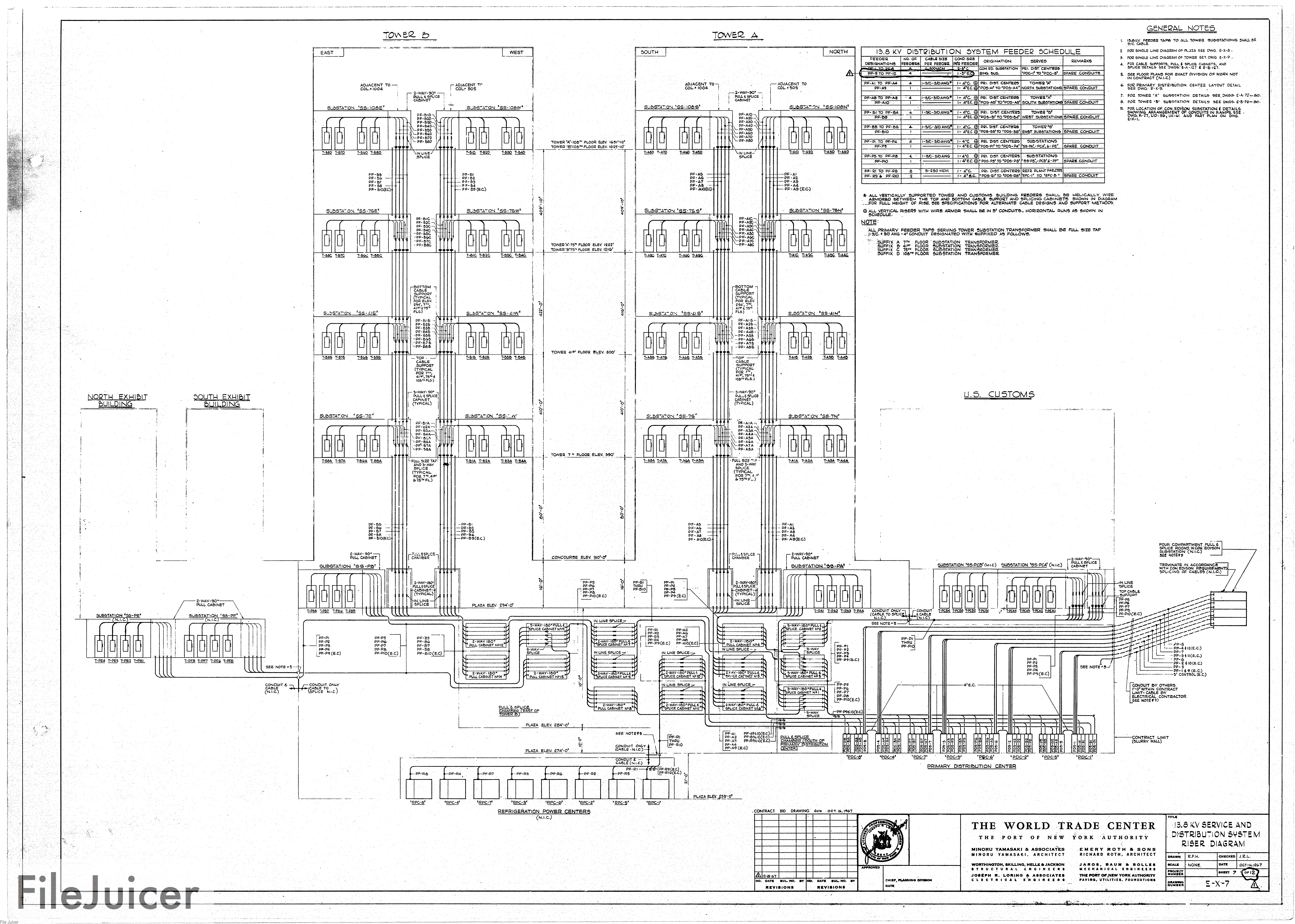 Table Of World Trade Center Tower A Drawings Architectural And Diagrams 138kvservice Distributionsystemriserdiagram