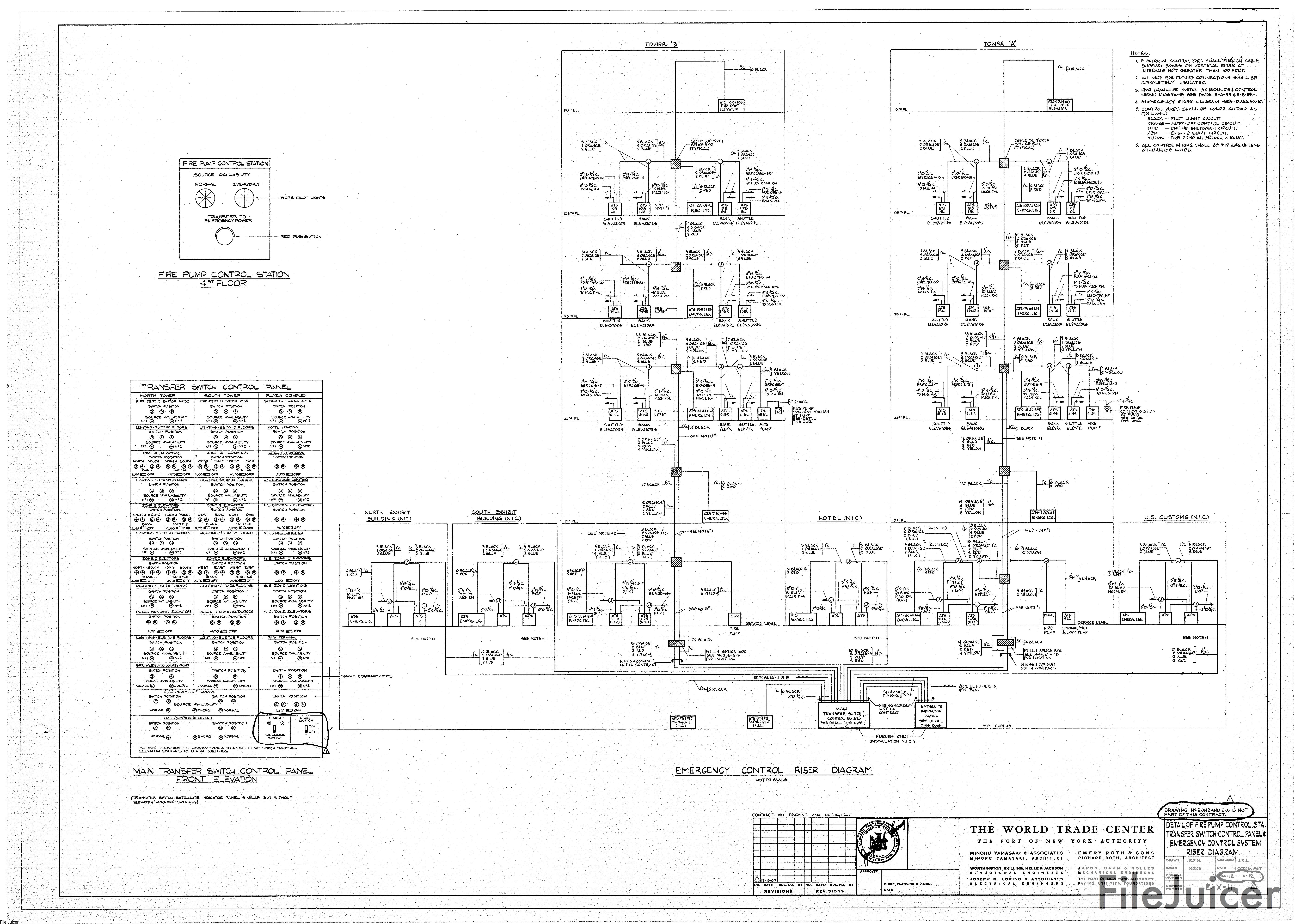 Table Of World Trade Center Tower A Drawings Electrical Diagram Elevator Detailoffirepumpcontrolestatransferswitchcontrolpanelemergencycontrol