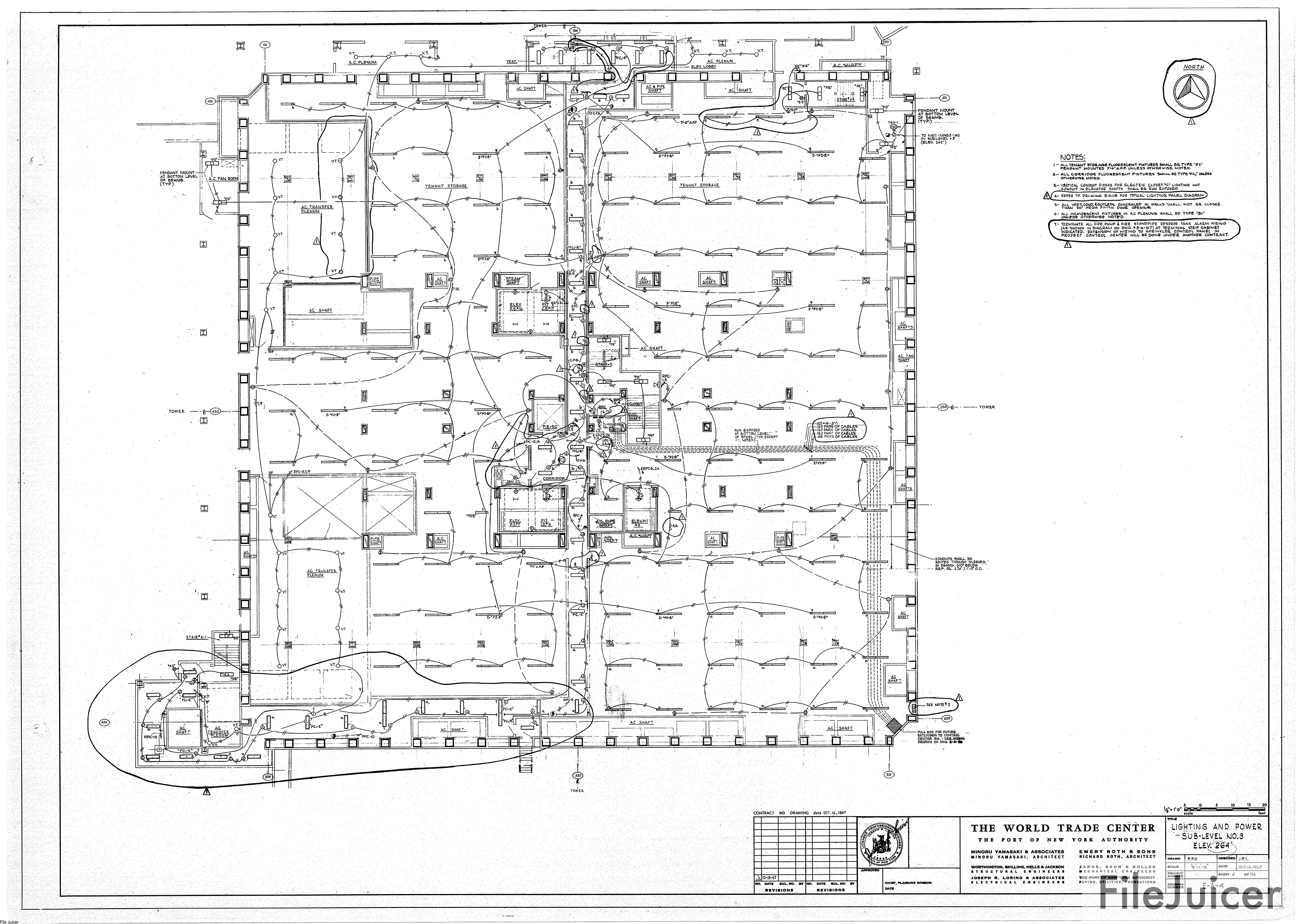 Table Of World Trade Center Tower A Drawings Electrical Diagram Elevator Lighting Power Sublevelno8 Elev264