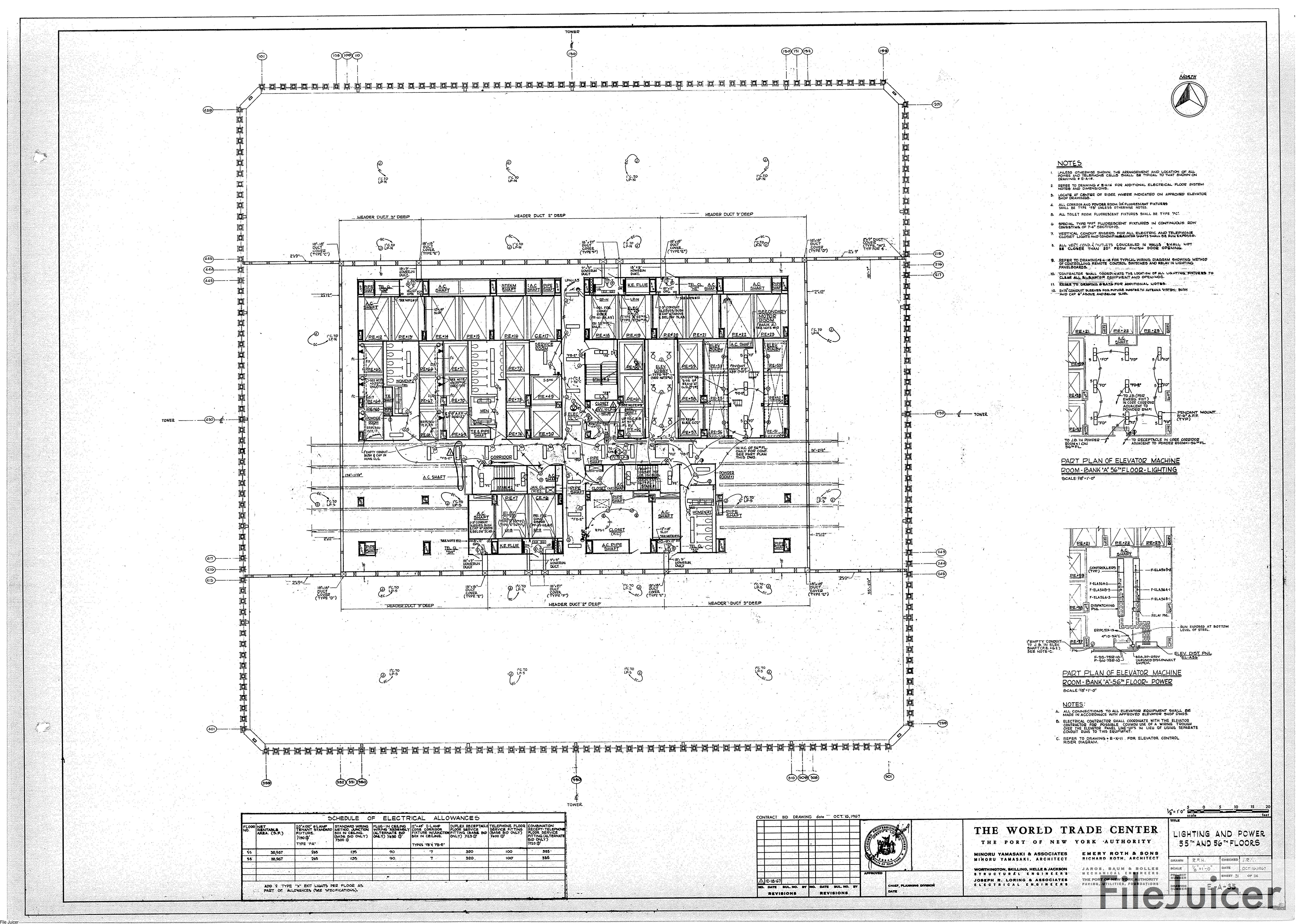 Table Of World Trade Center Tower A Drawings Wiring Diagram Control Dwgs Lighting Power 55th 56thfloors