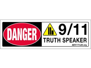 Danger Sign-Bumper Sticker, 9/11 Truth Speaker